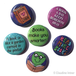 Book Magnets or Pin Back Buttons Set