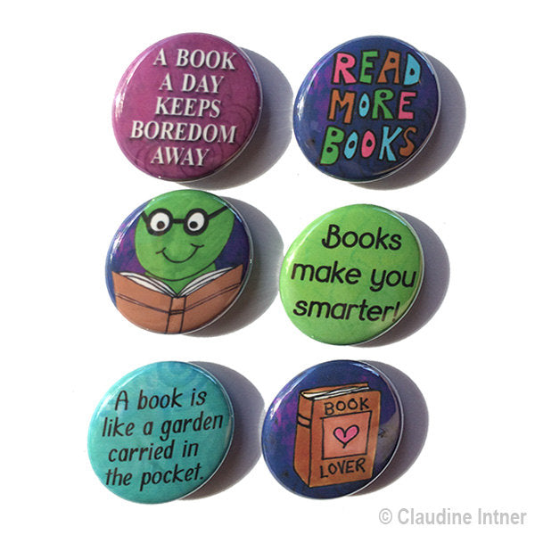 Book magnets or pins set - book lover, teacher, librarian, media specialist gift