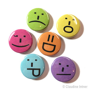 Smile Magnets or Pins - Emoticons, Emoji Smiley Face Pinback Button Set or Magnet Set - Party Favor, Stocking Stuffer, Gift Under 10 Dollars