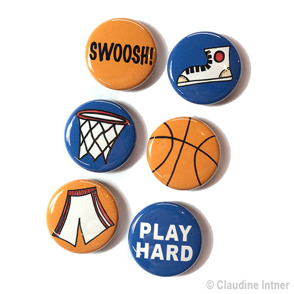 Basketball Magnet or Pin Set