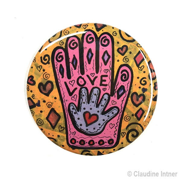 Mother's Love Hamsa Pocket Mirror, Magnet, or Pinback Button