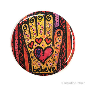 Believe Hamsa Magnet, Mirror, or Pin - Heart in Hand