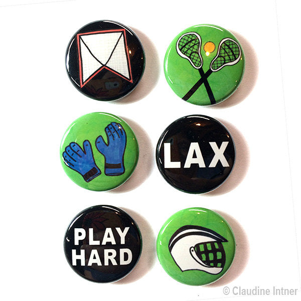 Lacrosse Magnets or Pinback Buttons Set