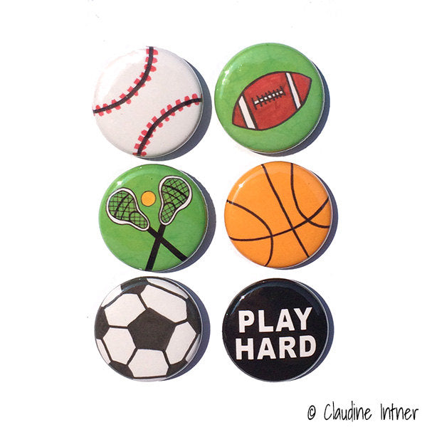 Sports Magnets or Pins Set
