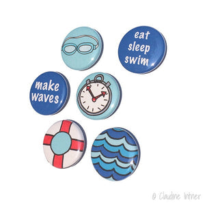 Swimming Magnets or Pinback Buttons