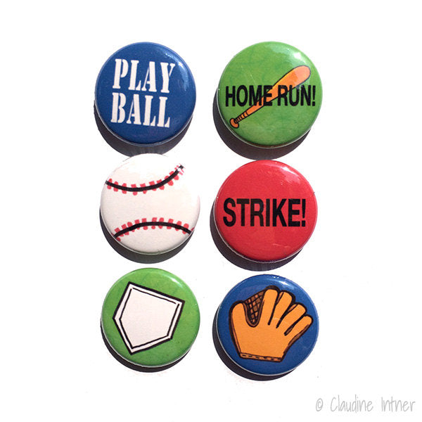 Baseball or Softball Pin or Magnet Set