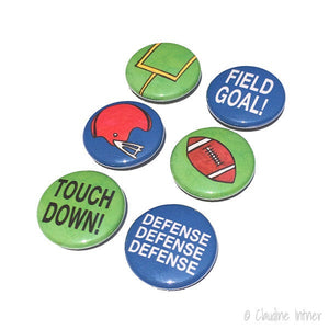 Football Magnets or Pins - Sports Magnet Set, Pinback Button Set