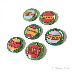 Christmas Magnets or Pinback Buttons - 1 Inch Holiday Magnet or Pin set, red and green ornament, decoration, party favors, fridge magnet set