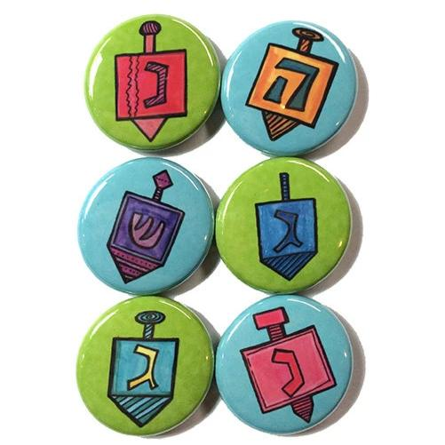 Hanukkah Dreidel Magnet or Pinback Button Set