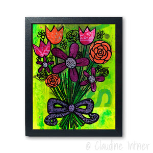 Flower Bouquet Wall Art Print - Floral Modern Art