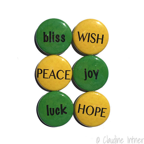 PEACE love HOPE Word Magnets or Pins