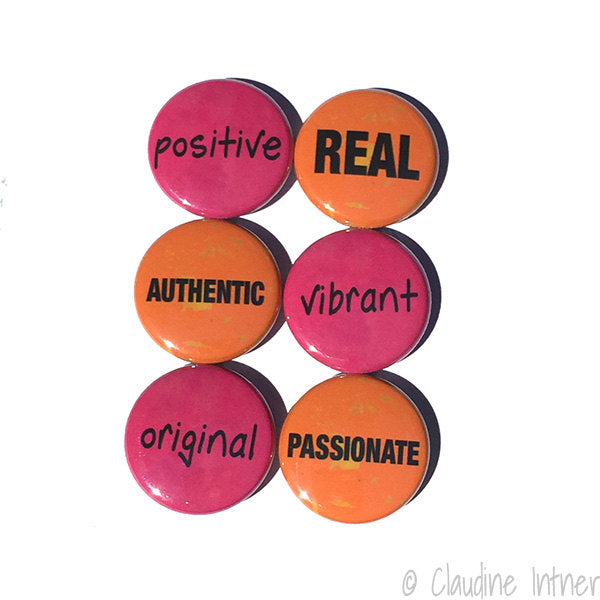 Positive Affirmation Word Magnet or Pinback Button Set