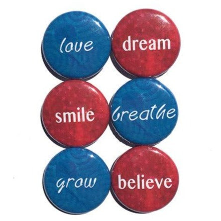 Inspirational Word Magnets or Pinback Button Set