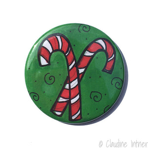 Candy Cane Magnet, Pinback Button, or Pocket Mirror
