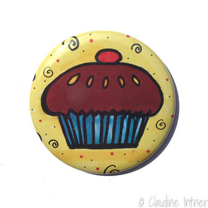 Cupcake Magnet, Pin Back Button, or Pocket Mirror