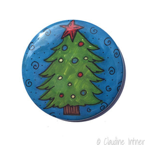 Christmas Tree Magnet, Pin, or Pocket Mirror