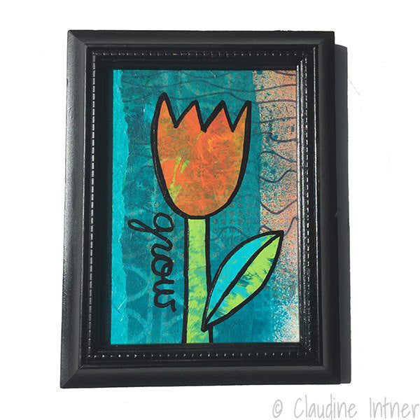 GROW Flower Mixed Media Painting