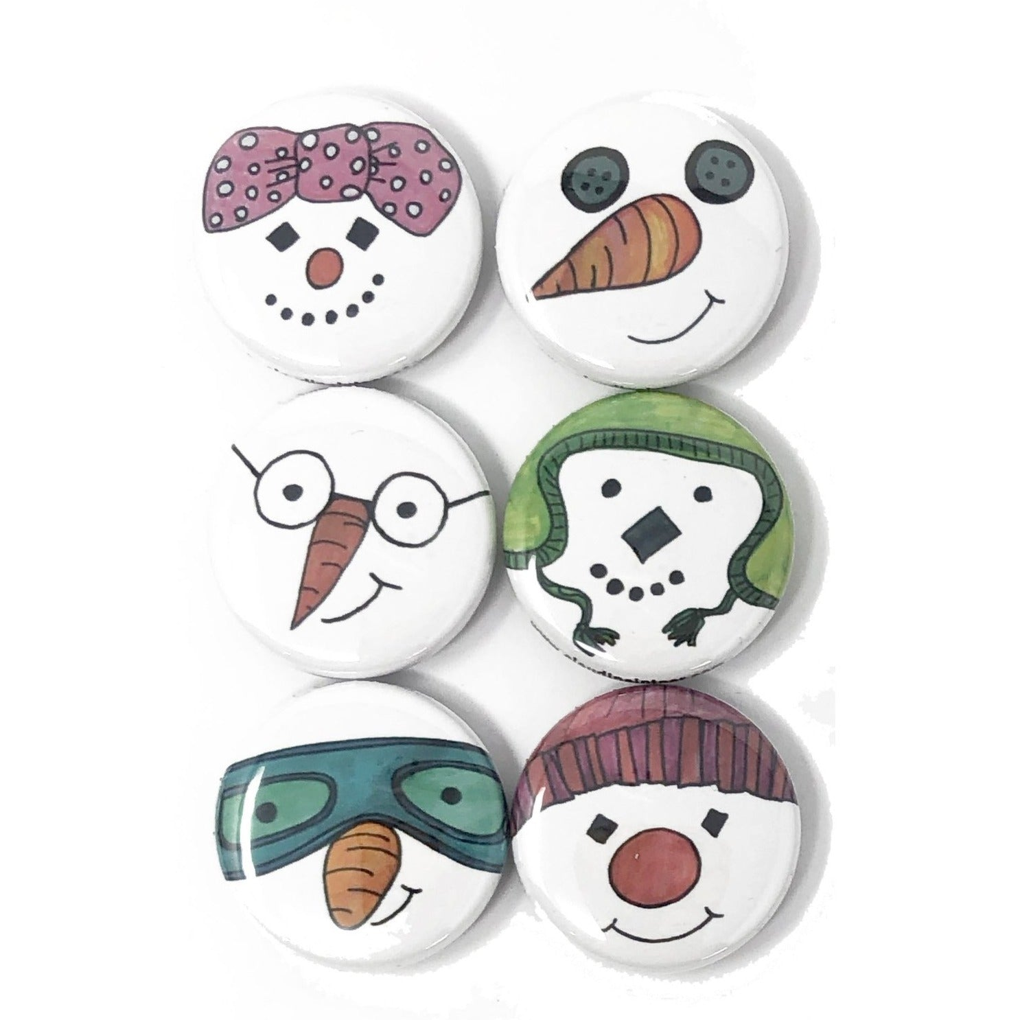 Snowman Magnets or Pins Set