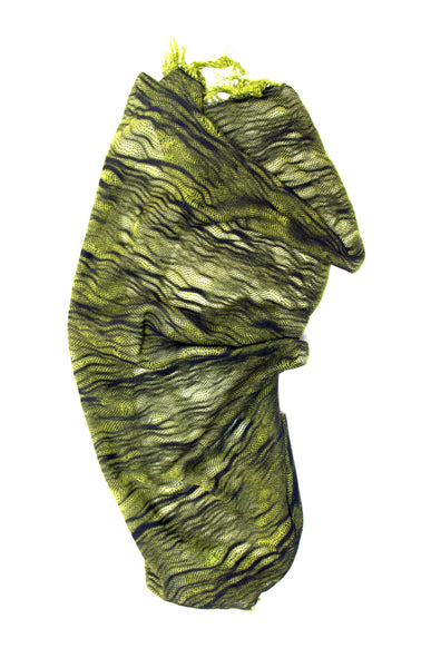 Sunday hand woven cotton scarf : chartreuse and black