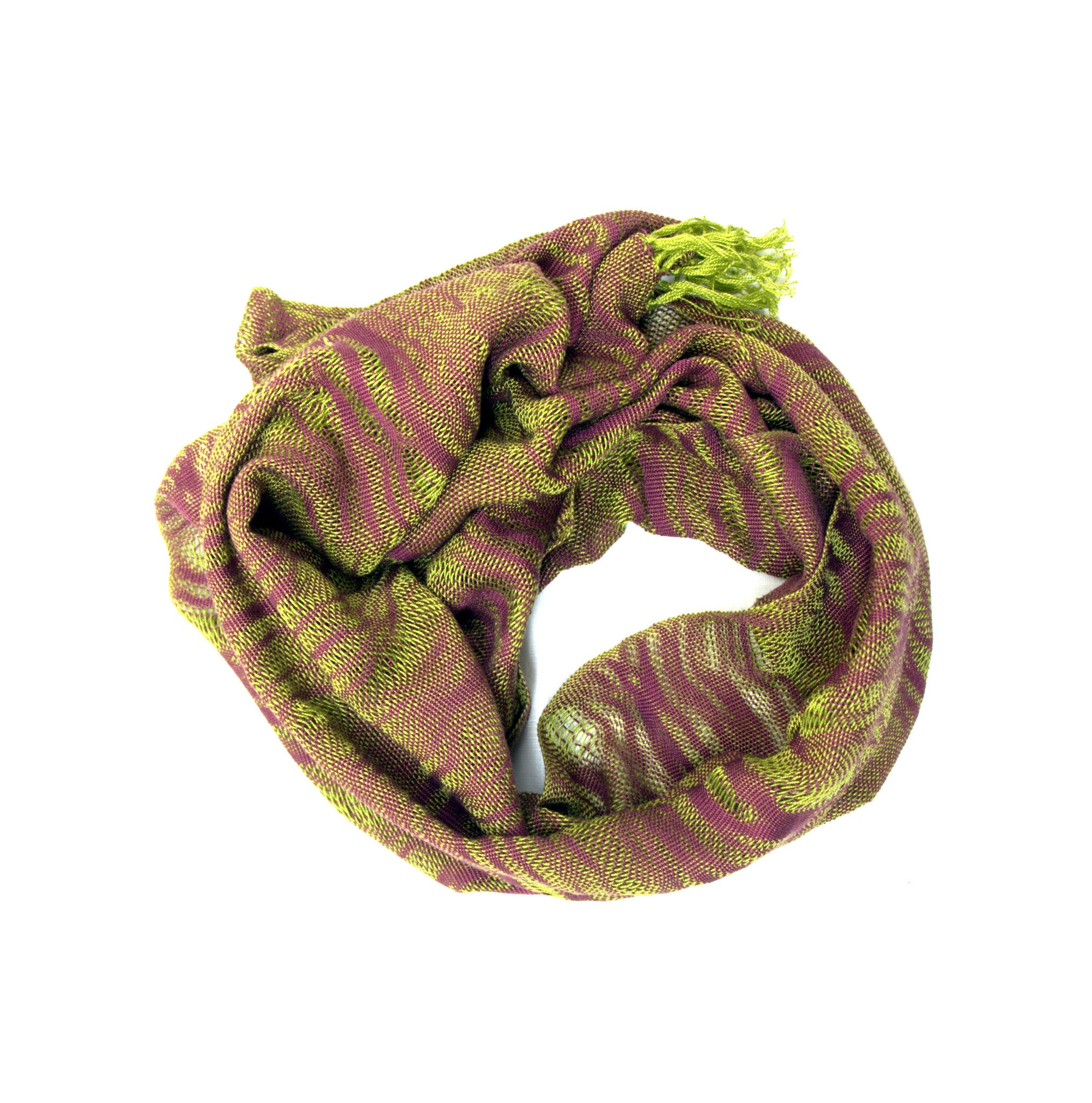 Sunday hand woven cotton scarf : chartreuse and mauve