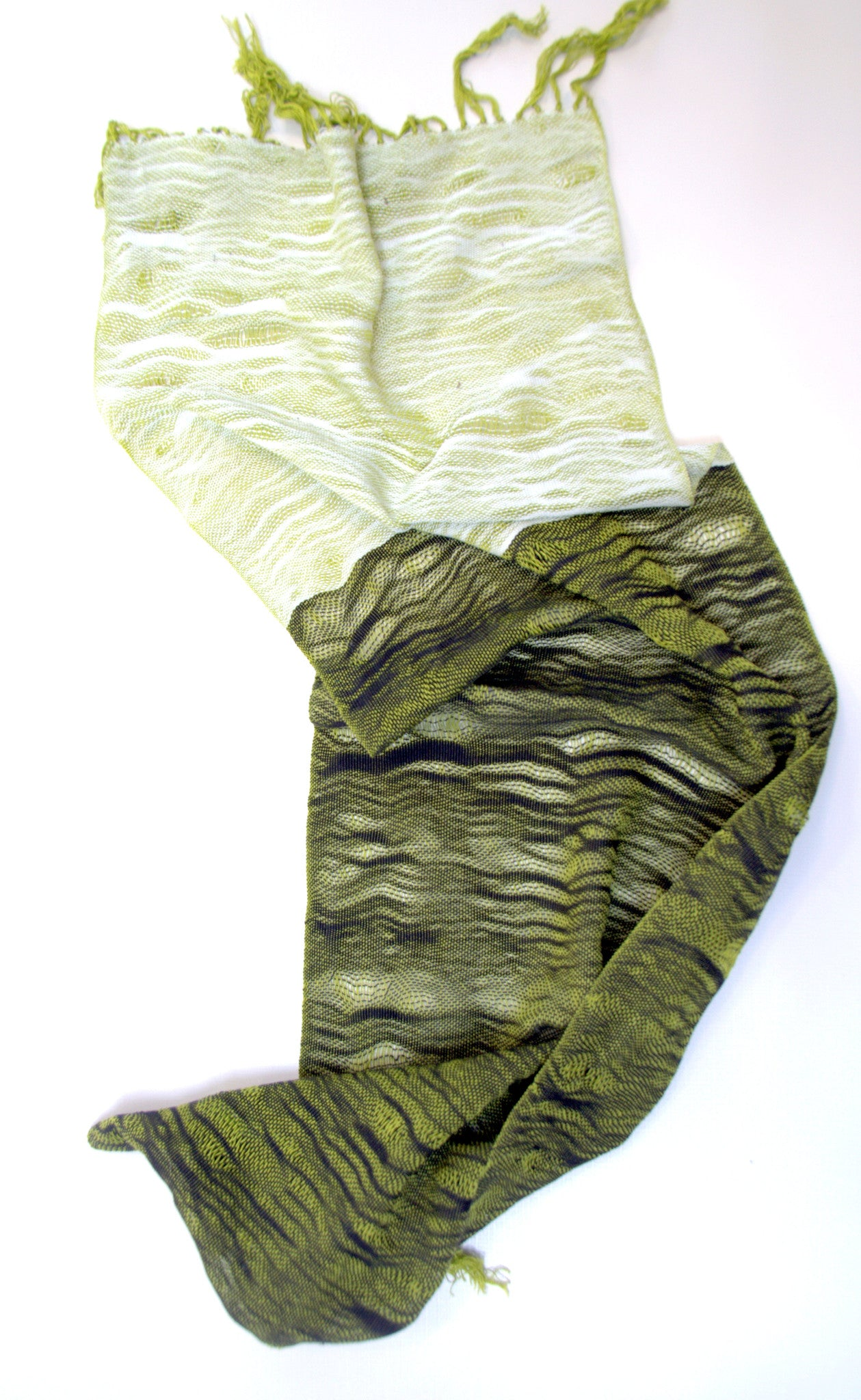 Sunday hand woven cotton scarf : chartreuse, white,  and black