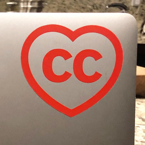 "CC ""heart"" 3 x 2.65 clear vinyl die cut sticker"