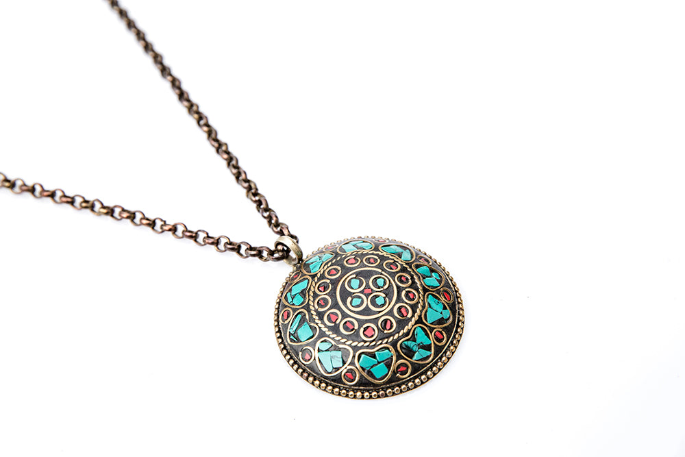 flower inlay jewellery pendant turquoise the oval stop
