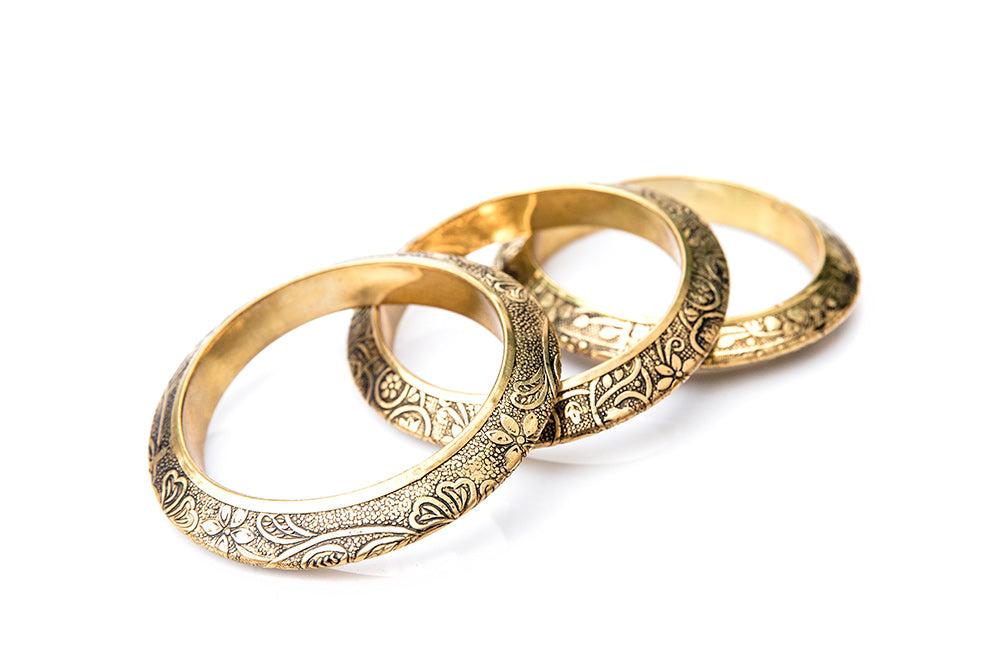 TOLA Indian Etched Brass Bangles - Gold