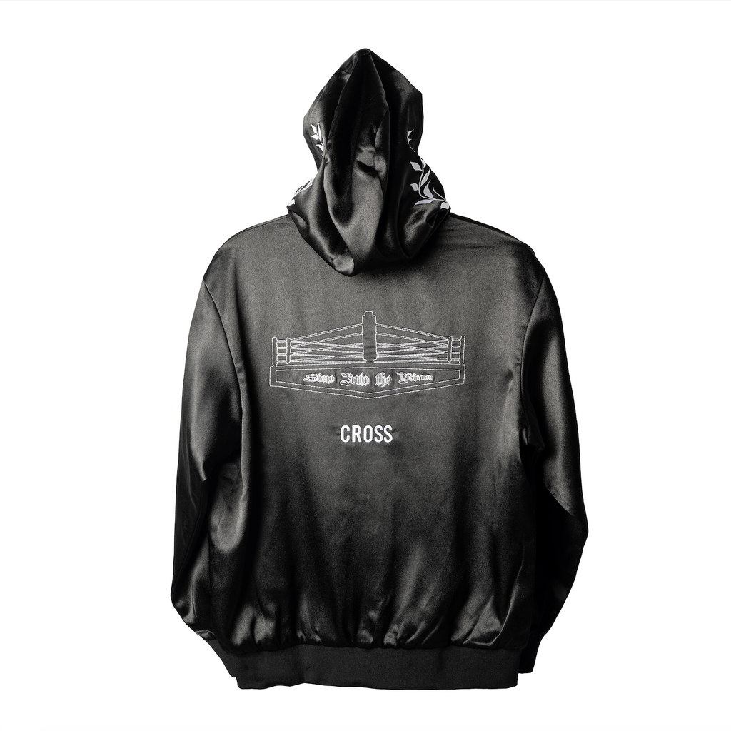 CROSS X TRSRZN Embroidered Silk Zip-Up Hoodie / Black & White