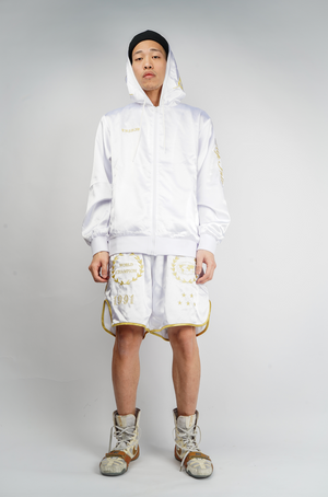 CROSS X TRSRZN Embroidered Silk Zip-Up Hoodie / White & Gold