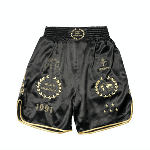 CROSS X TRSRZN Embroidered Silk Boxing Trunks / Black & Gold