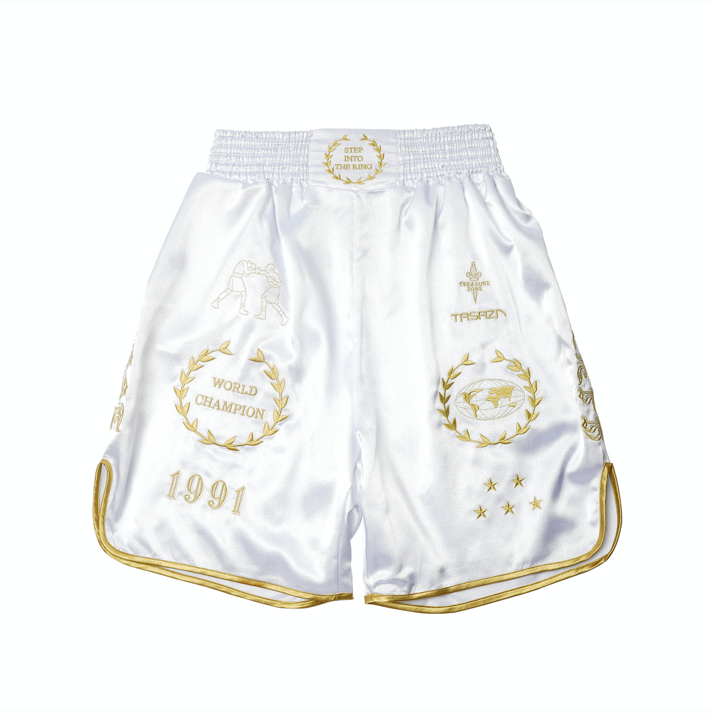 CROSS X TRSRZN Embroidered Silk Boxing Trunks / White & Gold