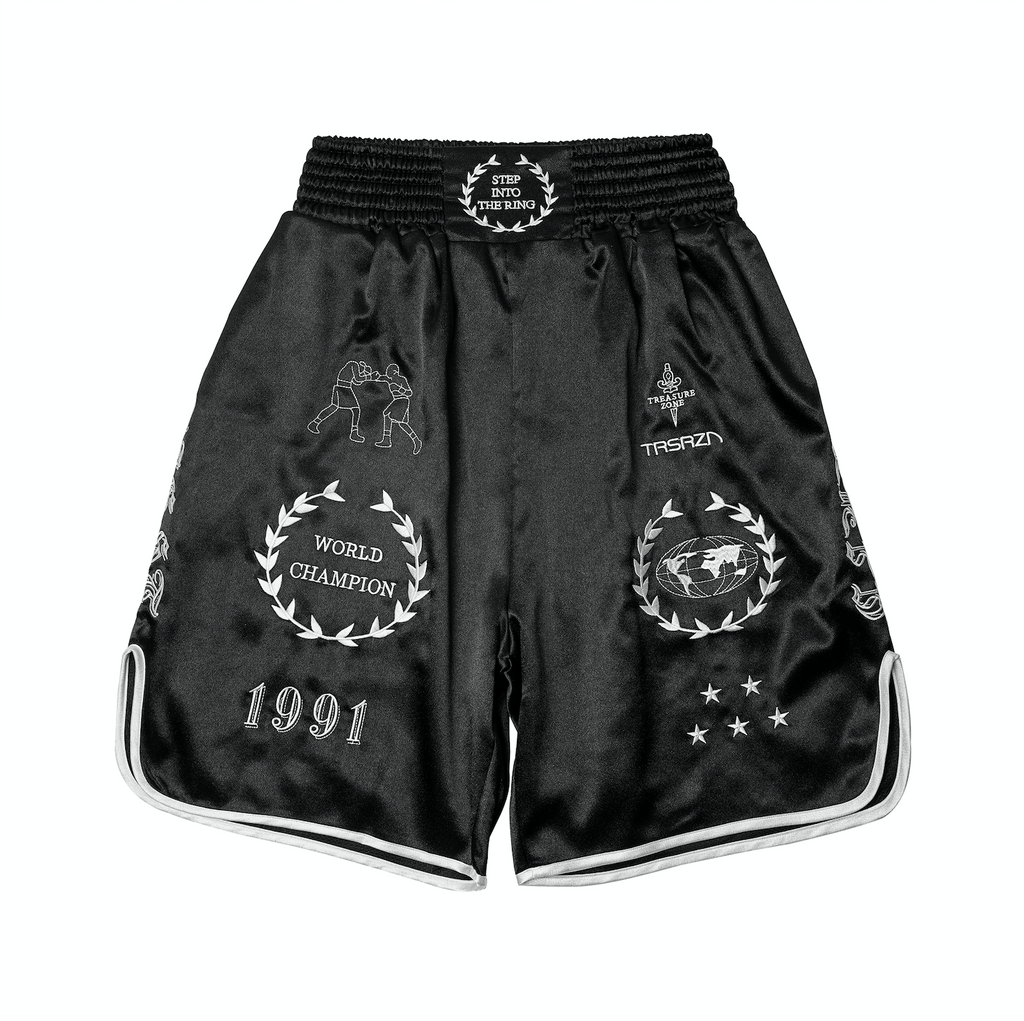 CROSS X TRSRZN Embroidered Silk Boxing Trunks / Black & White