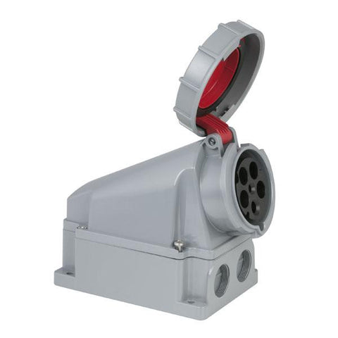 CEE 63A 400V 5p Wallmount Female - Red, IP67