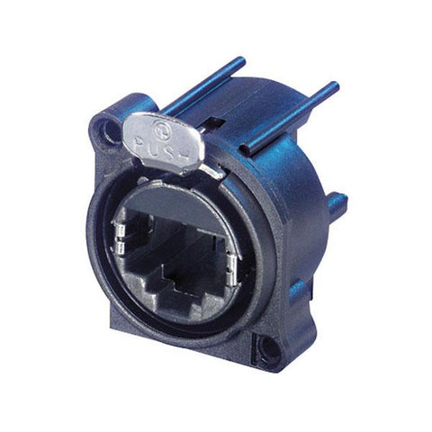 Ethercon D-size PCB mount - Feedthrough receptacle in D-sized flange with the secure latching system. Plastic