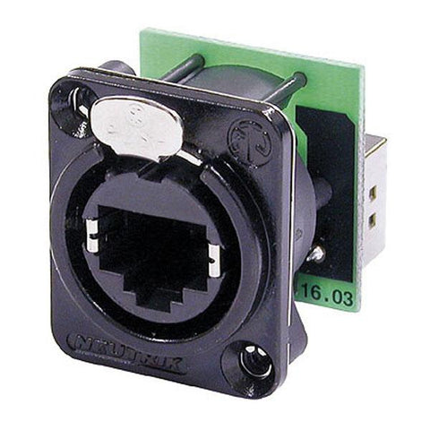 Ethercon D-size - Feedthrough receptacle in D-sized black chrome metal flange with the secure latching system. Black