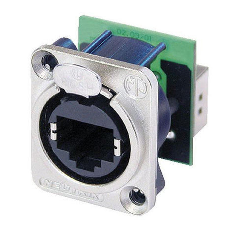 Ethercon D-size - Feedthrough receptacle in D-sized metal flange with the secure latching system. Nickel
