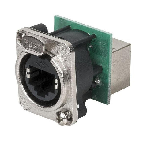 Ethernet RJ45 D-size chassis Feedthrough receptacle in D-sized metal flange with the secure latching system. Nickel