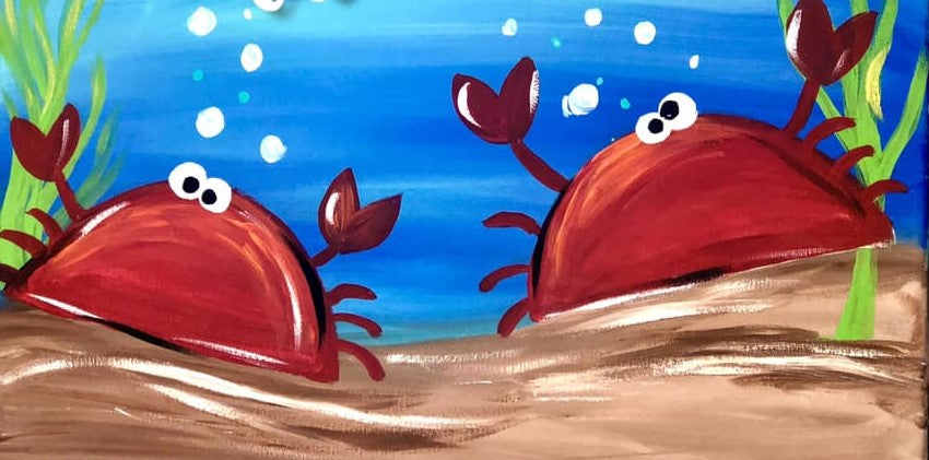 WEDNESDAY AUGUST 21--- KIDS ART CLASS PAINT PARTY - TWIN CRABS