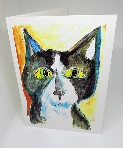 Black Cat with Yellow Eyes Greeting Card