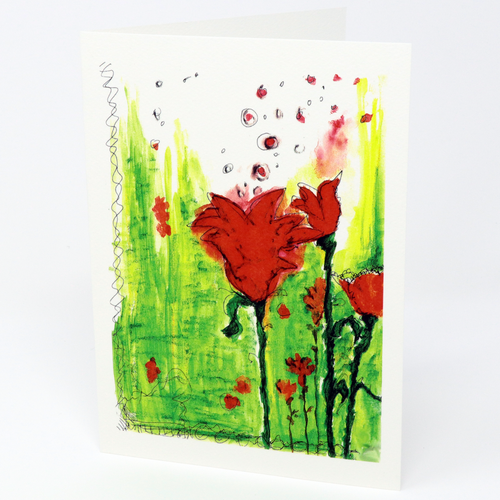 Boiiiing! Blossoming Flowers Greeting Card