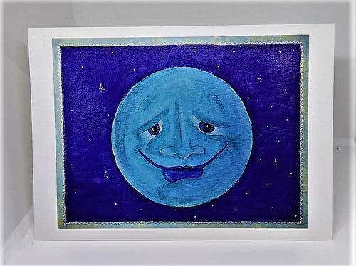 Blue Moon with a Smile Greeting Card
