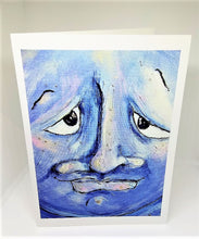 Load image into Gallery viewer, Blue Man in the Moon (upclose) Greeting Card