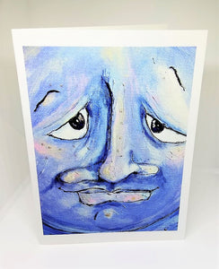 Blue Man in the Moon (upclose) Greeting Card