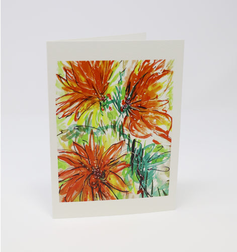 Orange Burst Flowers Greeting Card