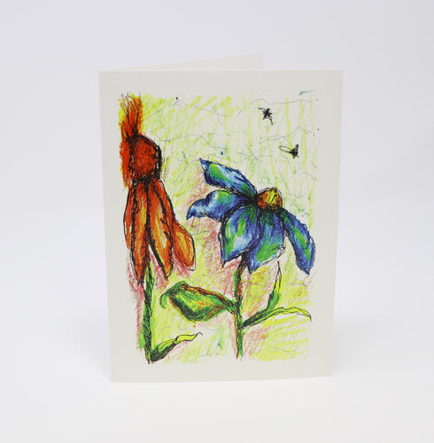 Wild Sun Flowers and Bees Greeting Card