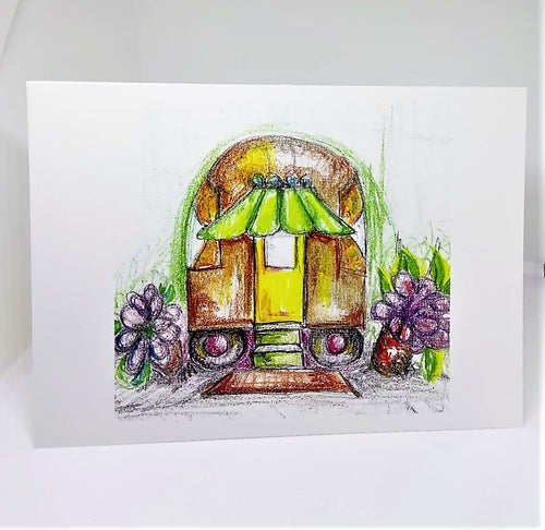 Glamper Camper with an Awning Greeting Card