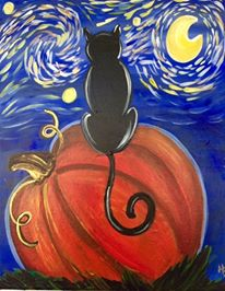 THURSDAY OCTOBER 10 Starry Starry Night Black Cat on a Pumpkin Painting Class