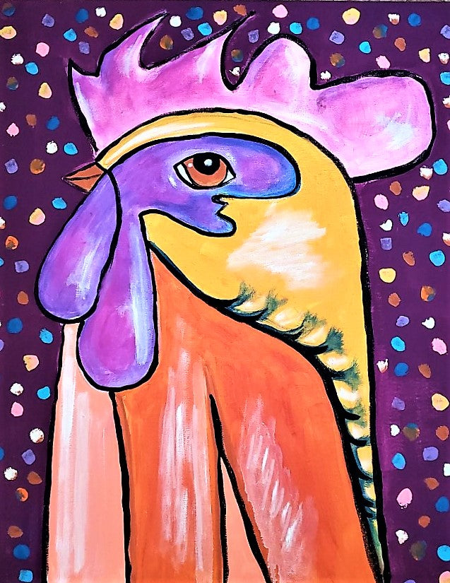 THURSDAY AUGUST 8 Whimsical ROOSTER Painting Class
