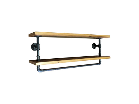 Industrial Towel Rack With 2 Shelves